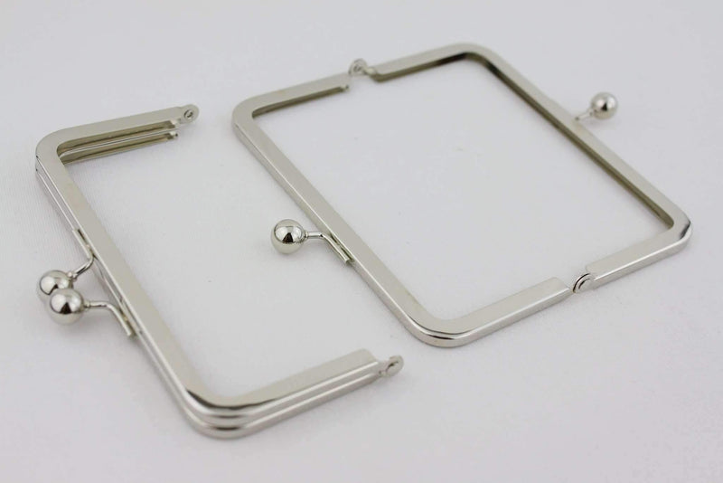 6 x 3 inch - Ball Closure - Silver Metal Purse Frame | SUPPLY4BAG