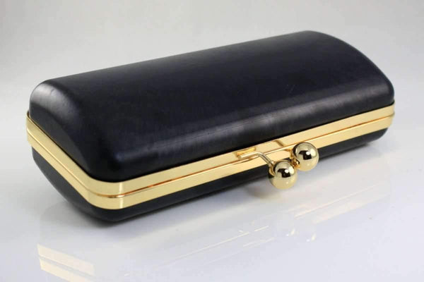9.5 x 4 inch - Ball Closure - Golden Large Clamshell Clutch Box Frame | SUPPLY4BAG