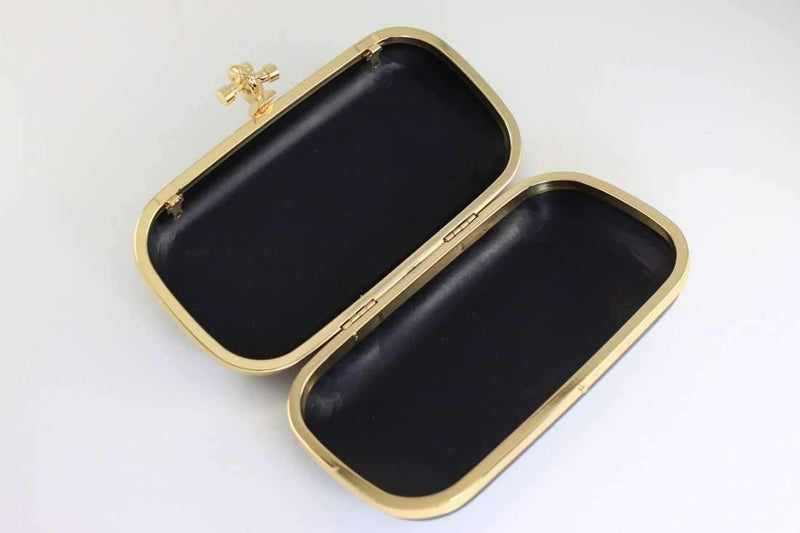 7 1/4 x 3 3/4 inch - Knot Closure - Golden Clutch Box Frame with Covers | SUPPLY4BAG