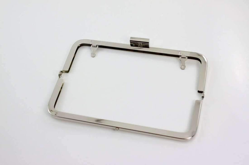 7 x 2.5 inch - Square Closure - Silver Metal Purse Frame | SUPPLY4BAG