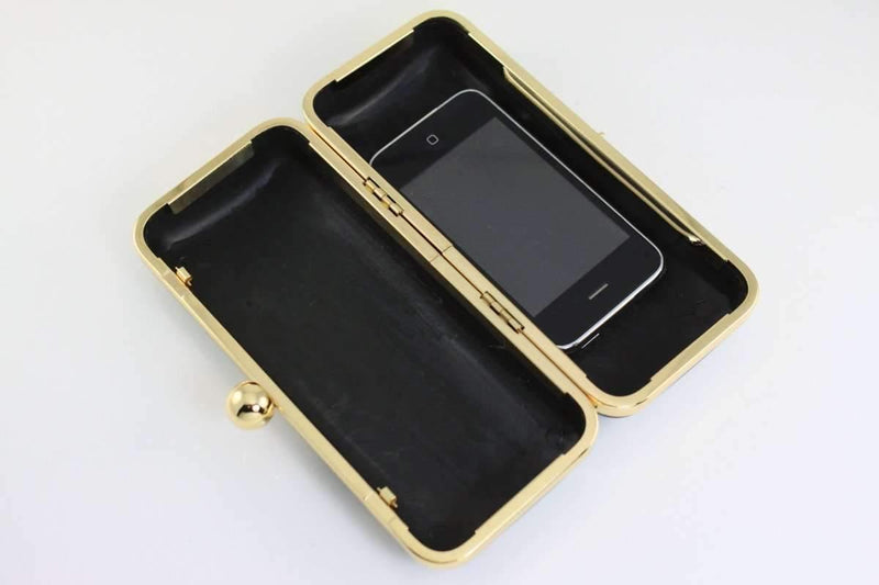 7 x 3 inch - Single Ball - Gold Box Clutch Frame with Covers | SUPPLY4BAG