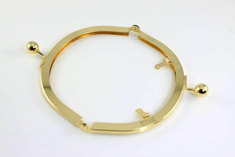 5 1/4 x 3 inches - Ball Closure - Half Arch Shape Gold Purse Frame with Chain Loops | SUPPLY4BAG
