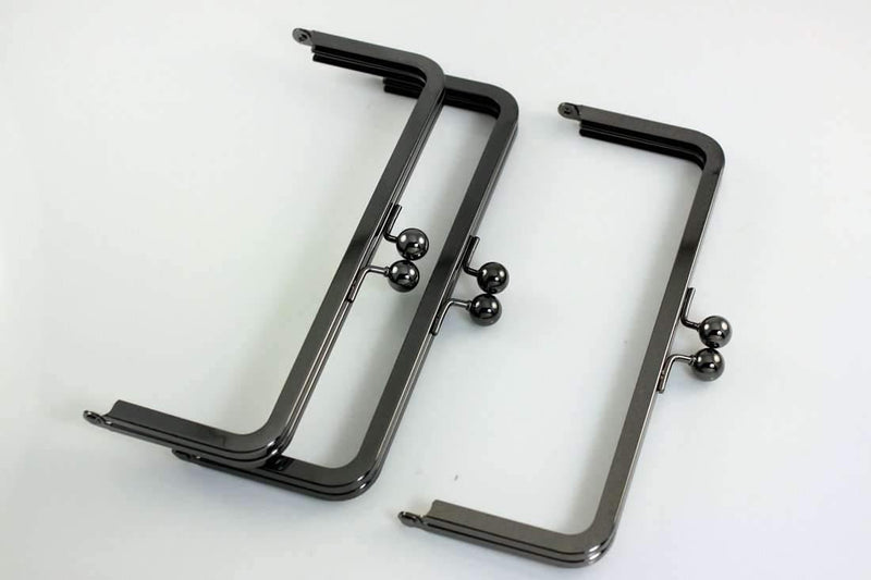 8 x 3 inch - Gunmetal Metal Purse Frame | SUPPLY4BAG