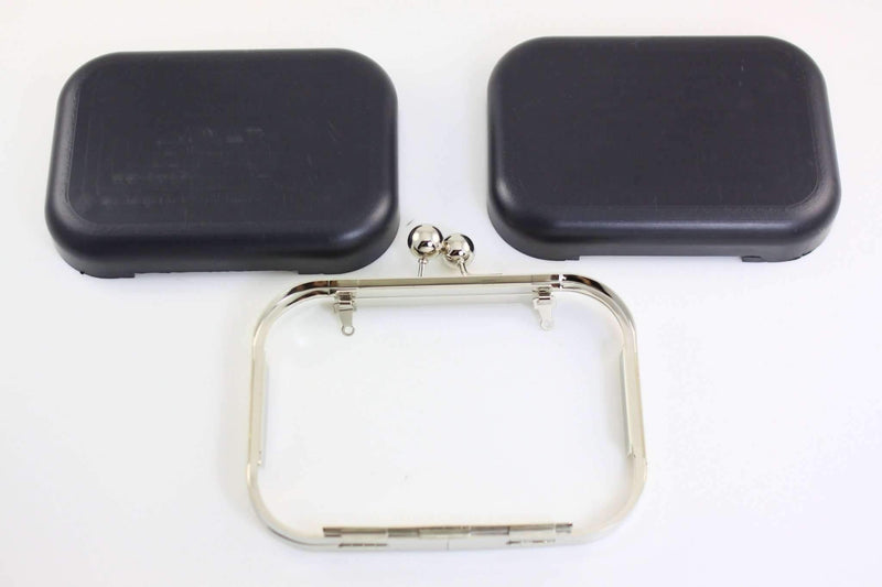 6 x 4.5 inch - Ball Closure - Silver Minaudière Metal Clutch Frame | SUPPLY4BAG