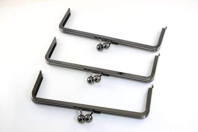 9 x 3 inch - Gunmetal Large Kisslock Metal Clutch Frame | SUPPLY4BAG