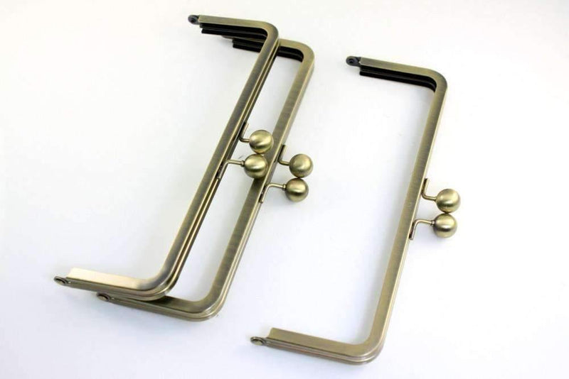 9 x 3 inch - Antique Brass Large Kisslock Metal Clutch Frame | SUPPLY4BAG