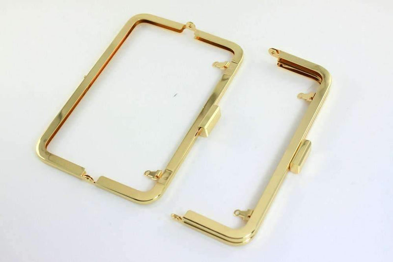 7 x 2.5 inch - Square Closure - Golden Metal Purse Frame | SUPPLY4BAG