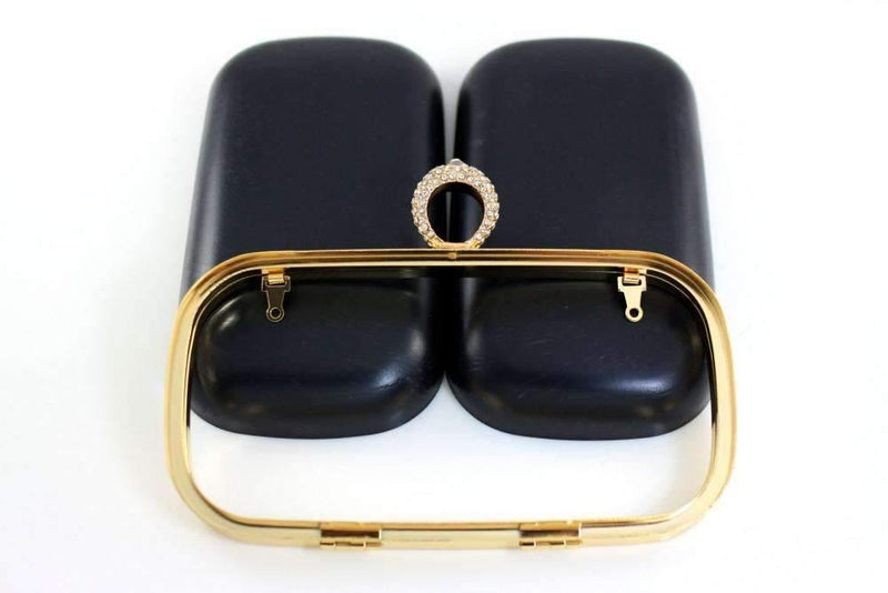7 1/4 x 3 3/4 inch - Rhinestone Ring - Golden Box Clutch Frame with Covers | SUPPLY4BAG