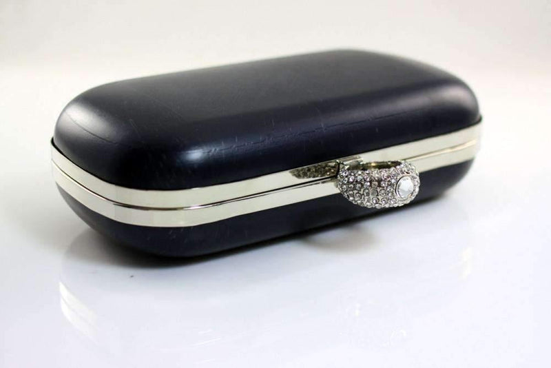 7 1/4 x 3 3/4 inch - Rhinestone Ring - Silver Box Clutch Frame with Covers | SUPPLY4BAG
