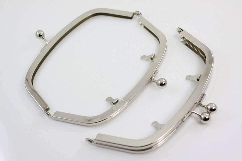 6.5 x 2.5 inch - Ball Closure - Silver Arch Shape Metal Purse Frame with Chain Loops | SUPPLY4BAG