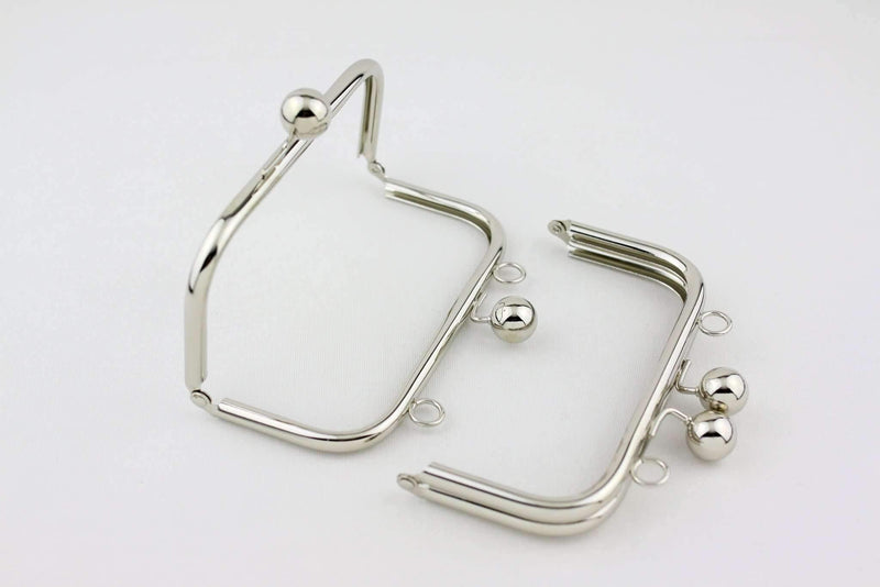 6 x 3 inch - Ball Closure - Silver Metal Purse Frame with Chain Loops on Top | SUPPLY4BAG
