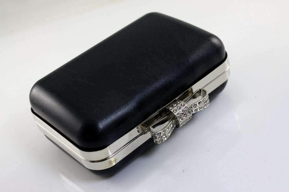 5 3/8 x 3.5 inch - Rhinestone Bow - Silver Minaudière Metal Clutch Frame | SUPPLY4BAG