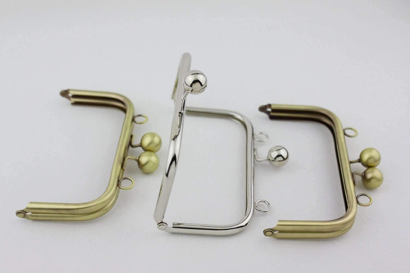 6 x 3 inch - Ball Closure - Antique Brass Metal Purse Frame with Chain Loops on Top | SUPPLY4BAG