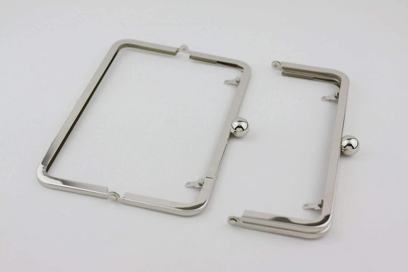 8 x 3 inch - Single Ball - Silver Large Purse Frame with Chain Loops | SUPPLY4BAG