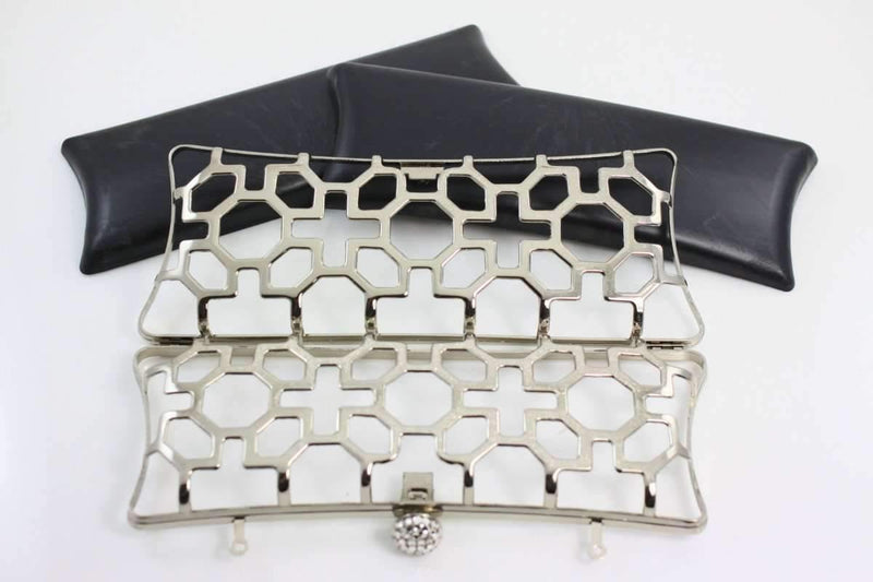 8.5 x 3 inch - Floral Pattern - Silver Zinc Alloy Minaudiere Clutch Frame | SUPPLY4BAG