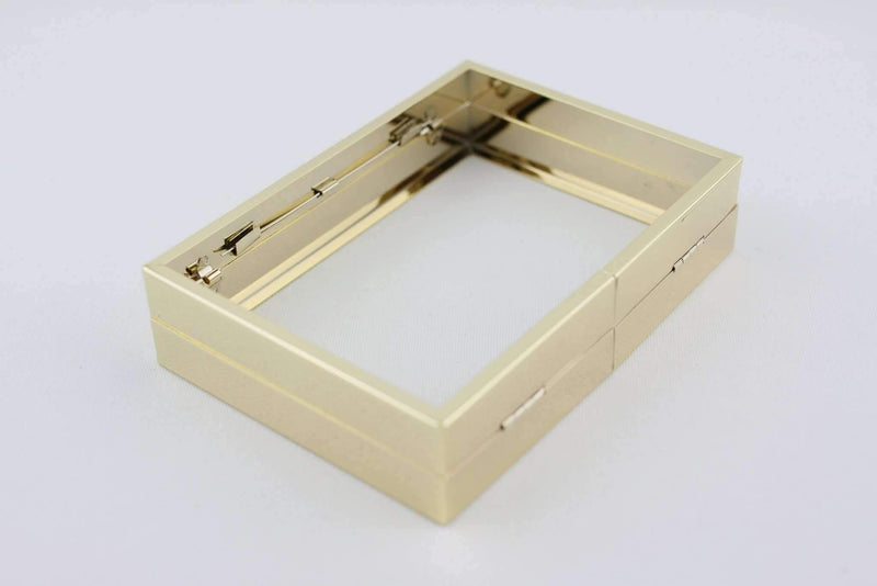 6 1/4 x 4.5 inch - Gold Hollow Clutch Frame with Chain Loops | SUPPLY4BAG