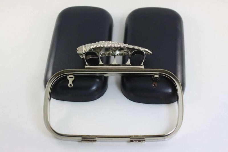 7 1/4 x 3 3/4 inch - Skull Wing - Silver Clutch Box Frame with Covers | SUPPLY4BAG