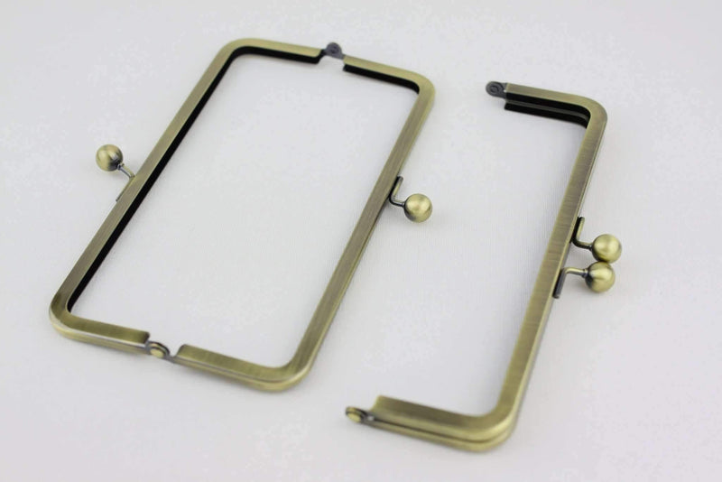 8 x 2.5 inch - Ball Closure - Antique Brass Metal Purse Frame | SUPPLY4BAG