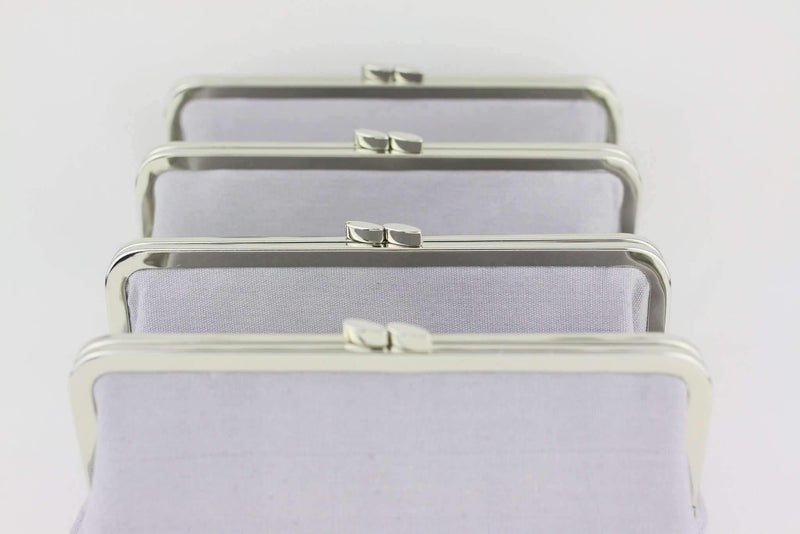 8 1/4 x 3 inch - Flat - Silver Metal Purse Frame | SUPPLY4BAG