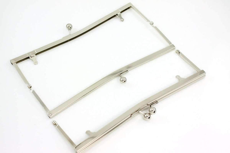 9 x 2.5 inch - Silver Large Open Channel Clutch Frame with Chain Loops | SUPPLY4BAG