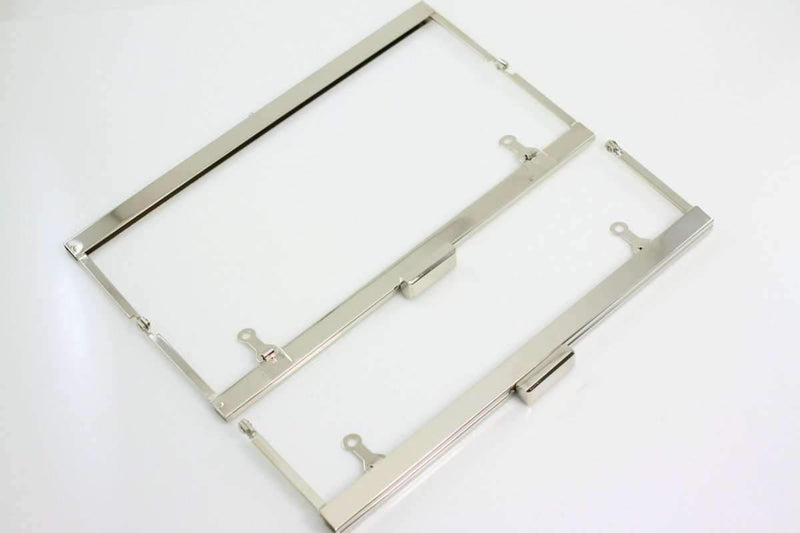 9.5 x 2 3/4 inch - Large Silver Open Channel Clutch Frame with Chain Loops | SUPPLY4BAG
