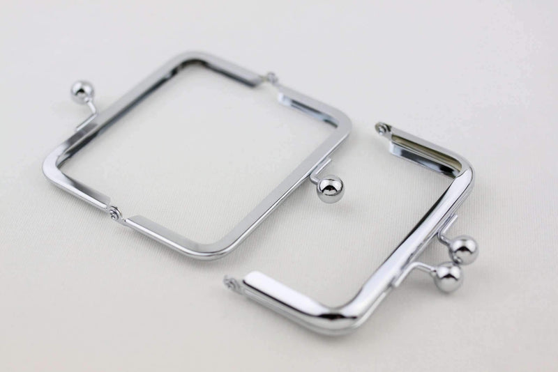 4 x 2 inch - Ball Closure - Silver Small Coin Purse Frame | SUPPLY4BAG