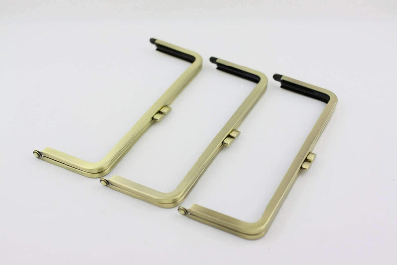 8 1/4 x 3 inch - Flat - Antique Brass Metal Purse Frame | SUPPLY4BAG