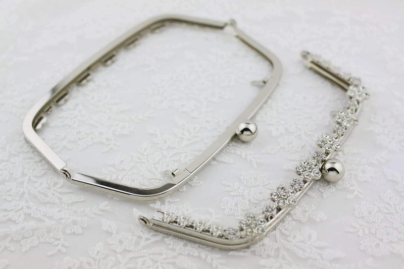 8.5 x 3.5 inch - Floral Rhinestone Silver Arch Shape Clutch Frame with Chain Loops | SUPPLY4BAG