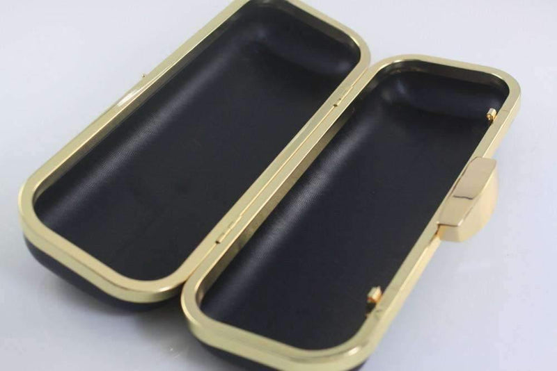 9 x 3.5 inch - Golden Slim Rectangle Box Clutch Frame with Covers | SUPPLY4BAG