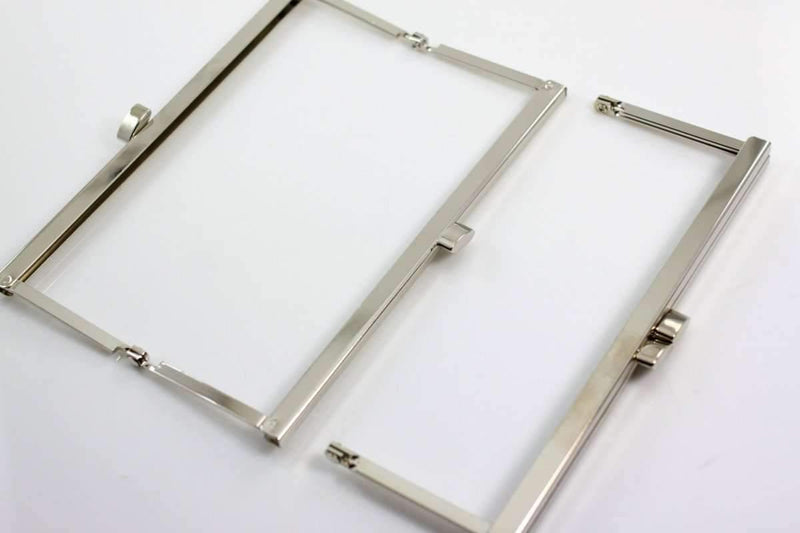 6 3/4 x 2.5 inch - Flat - Silver Open Channel Purse Frame | SUPPLY4BAG