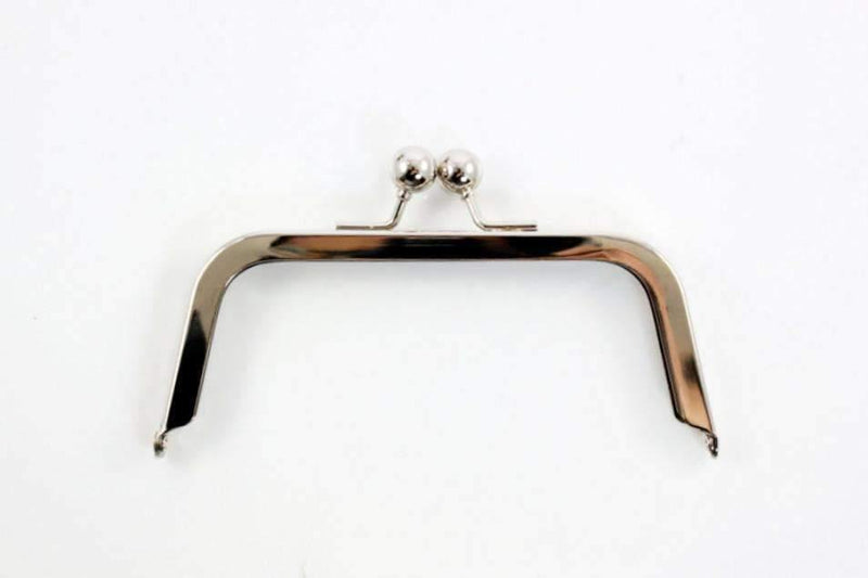 6 x 2.5 inch - Ball Closure - Silver Metal Purse Frame | SUPPLY4BAG