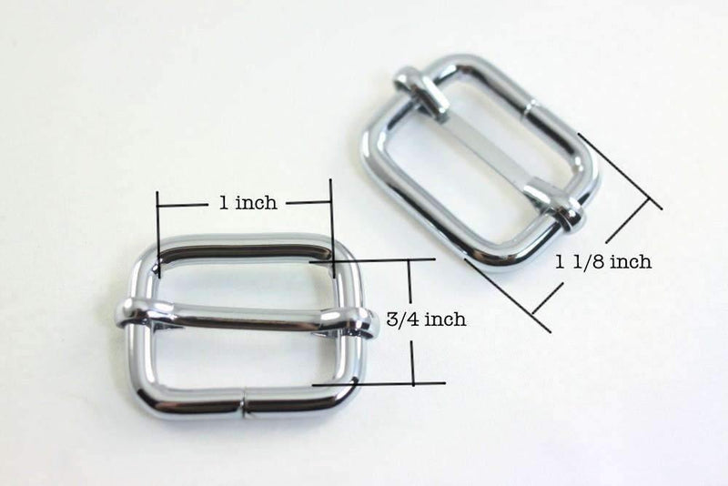 1 inch (inner) - Nickel Rectangle Slider for Adjustable Straps - 10 Pieces | SUPPLY4BAG