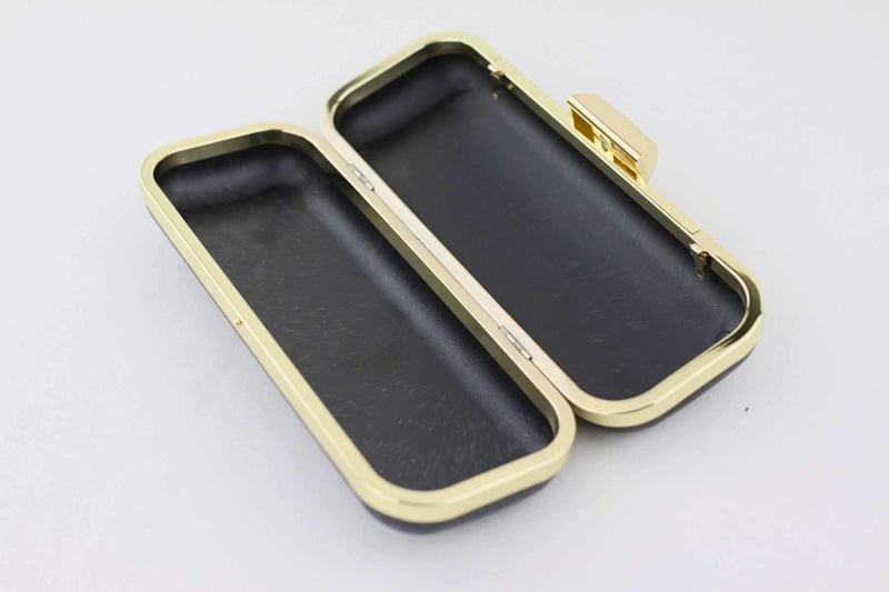 9 x 3.5 inch - Trapezoid Closure - Gold Slim Rectangle Box Clutch Frame | SUPPLY4BAG