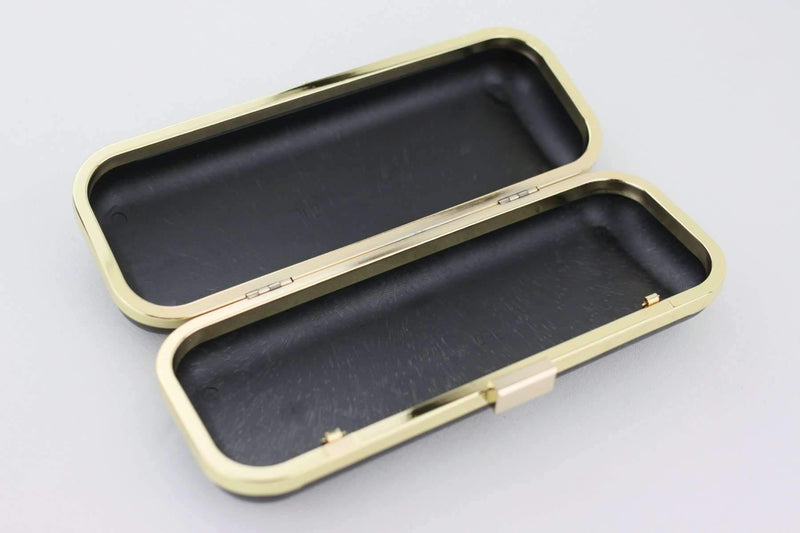 9 x 3.5 inch - Square closure - Gold Slim Rectangle Box Clutch Frame | SUPPLY4BAG