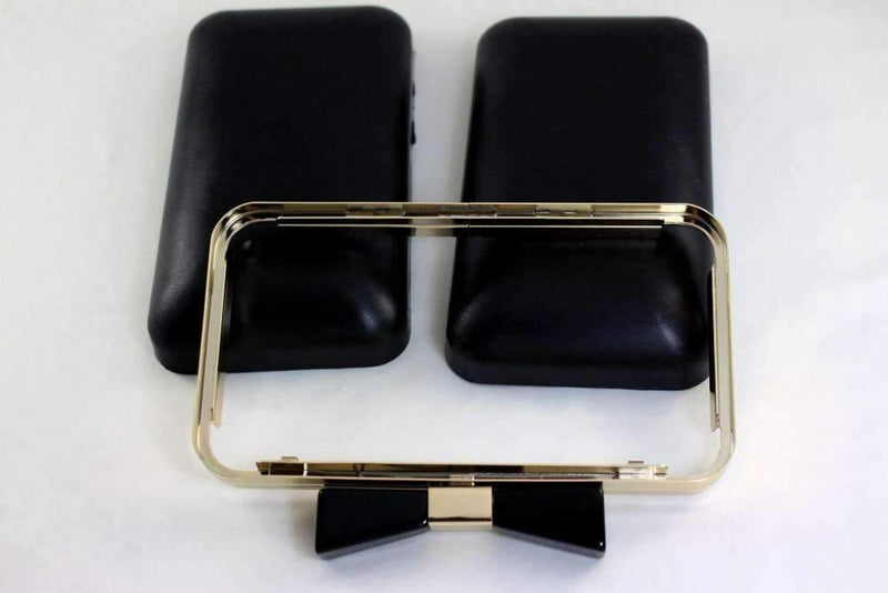 7 x 4 inch - Bow Closure - Gold Rectangle Metal Purse Frame with Covers | SUPPLY4BAG
