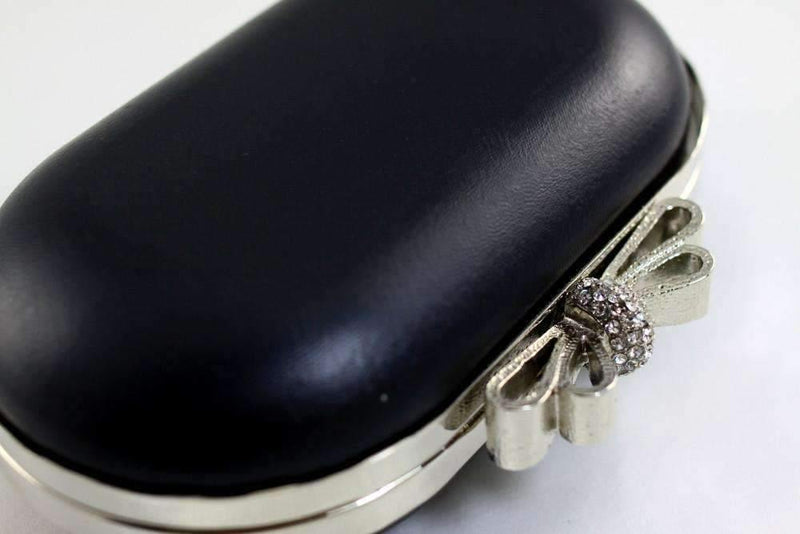6 1/4 x 3.5 inch - Rhinestone Bow - Silver Oval Shape Dressing Case Box Clutch Frame | SUPPLY4BAG