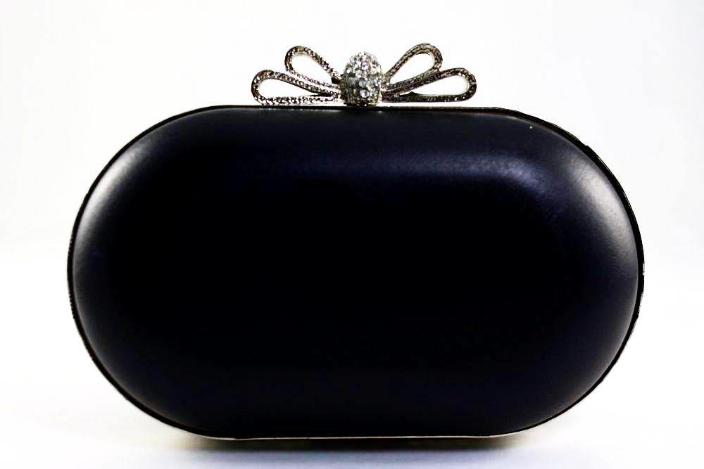 6 1/4 x 3.5 inch - Rhinestone Bow - Silver Oval Shape Box Clutch Frame | SUPPLY4BAG