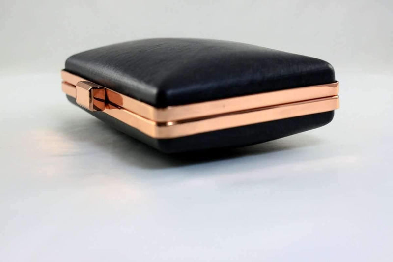6 x 3 3/4 inch - Flat Closure - Rose Gold Clamshell Medium Box Clutch Frame | SUPPLY4BAG