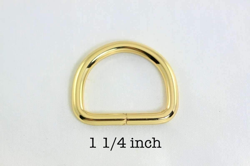 1 1/4 inch (inner) - Golden Plated D Rings - 10 pieces | SUPPLY4BAG