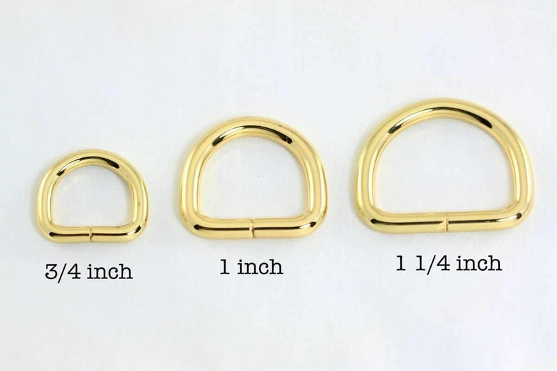 3/4 inch (inner) - Golden Plated D Rings - 10 pieces | SUPPLY4BAG