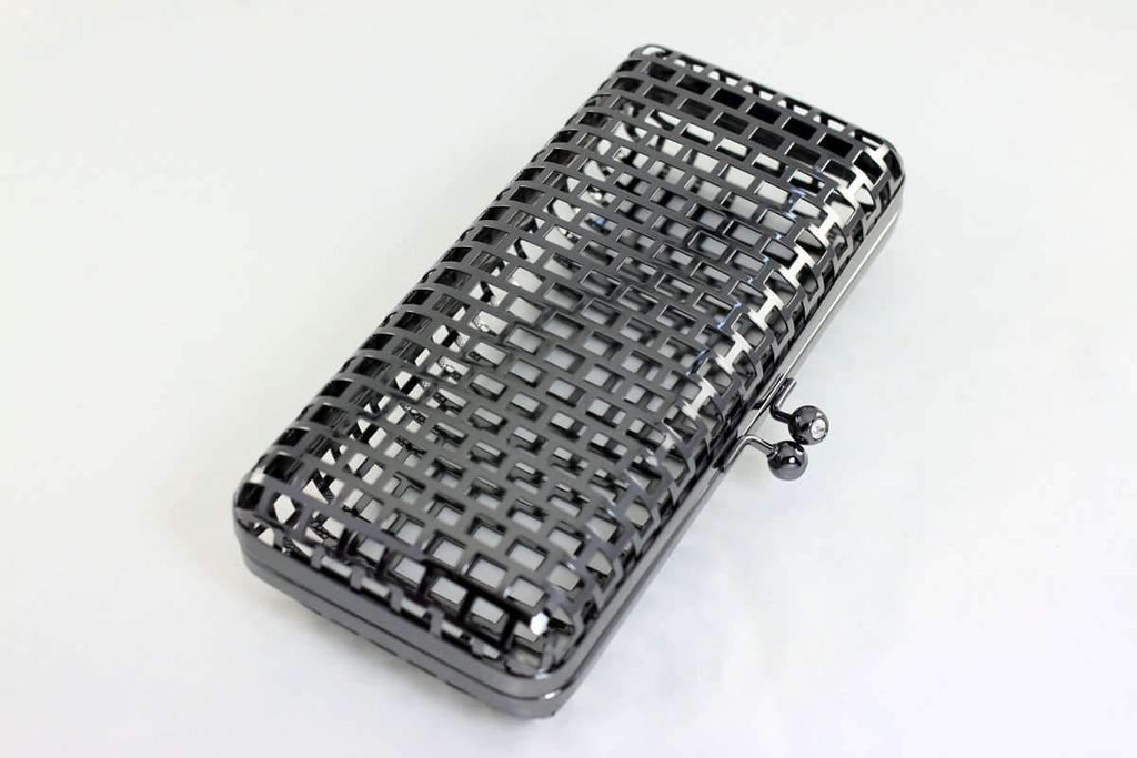 7 3/4 x 3.5 inch - Ball Clasp - Gunmetal Net Clutch Frame | SUPPLY4BAG