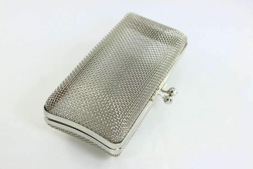 7 x 3.5 inch - Ball Clasp - Silver Net Clutch Frame | SUPPLY4BAG
