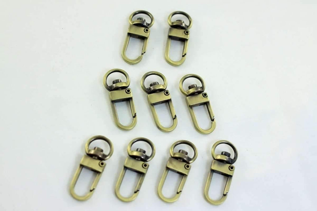 Antique Brass Small Swivel Hooks - 3/8 inch (inner) - 20 Pieces | SUPPLY4BAG