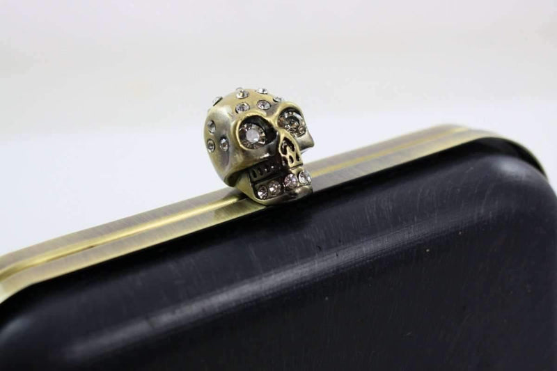 6 1/4 x 4 inch - Skull Dressing Case Antique Brass Clutch Frame with Covers | SUPPLY4BAG