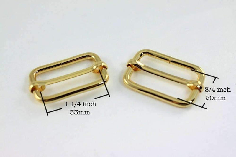 1 1/4 inch (inner) - Gold Rectangle Slider for Adjustable Straps - 10 Pieces | SUPPLY4BAG