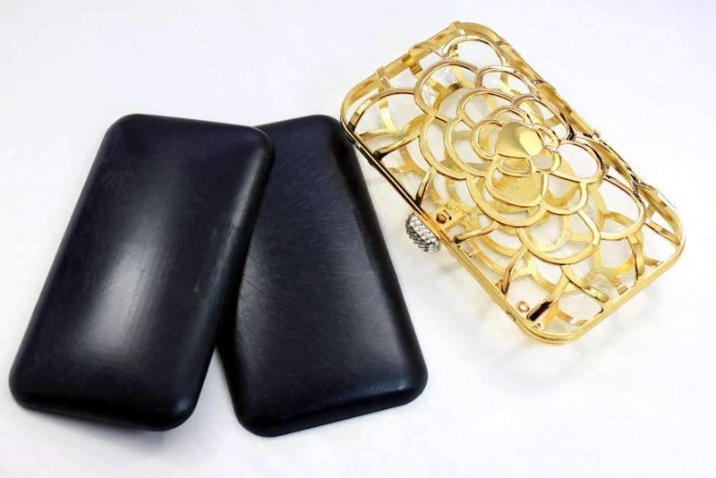 7 x 4 inch - Golden Floral Pattern Zinc Alloy Box Clutch Frame | SUPPLY4BAG