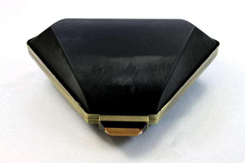 6.5 x 4.5 inch - Triangular Dressing Case - Antique Brass Metal Purse Frame with Covers | SUPPLY4BAG