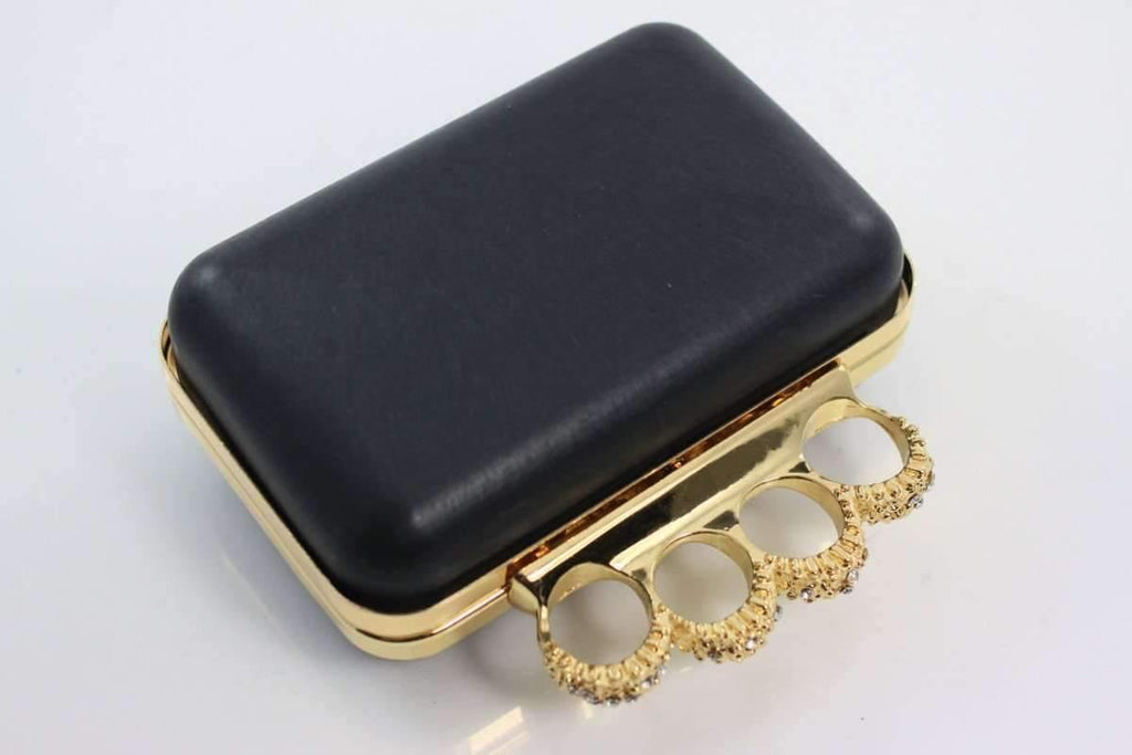 5 3/8 x 3.5 inch - Knuckle Duster - Gold Minaudière Metal Clutch Frame | SUPPLY4BAG
