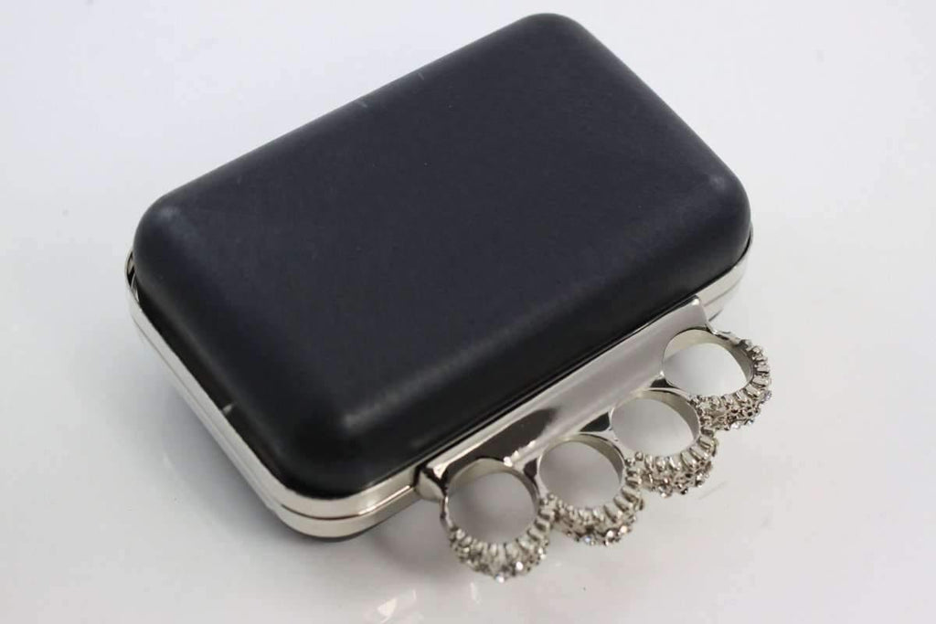 5 3/8 x 3.5 inch - Knuckle Duster - Silver Minaudière Metal Clutch Frame | SUPPLY4BAG