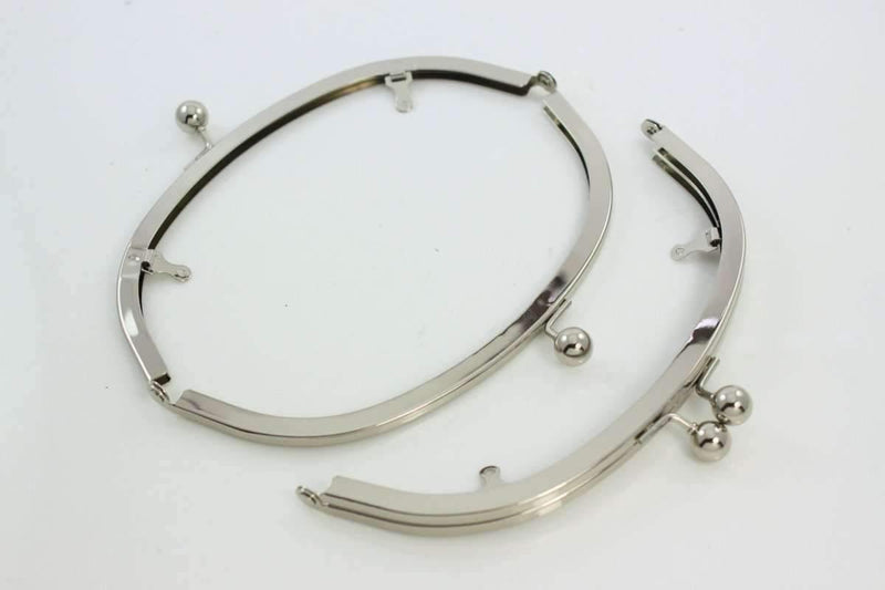 7.5 x 2 3/4 inch - Ball Closure - Silver Arch Shape Metal Purse Frame with Chain Loops | SUPPLY4BAG